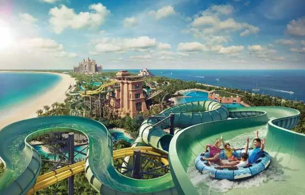 Exhilarate with a number of water activities and rides at Aquaventure Waterpark
